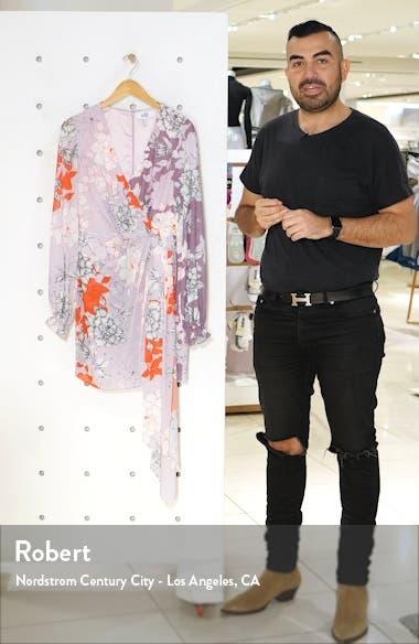 Badgley Mischka Twin Print Faux Wrap Long Sleeve Minidress, sales video thumbnail