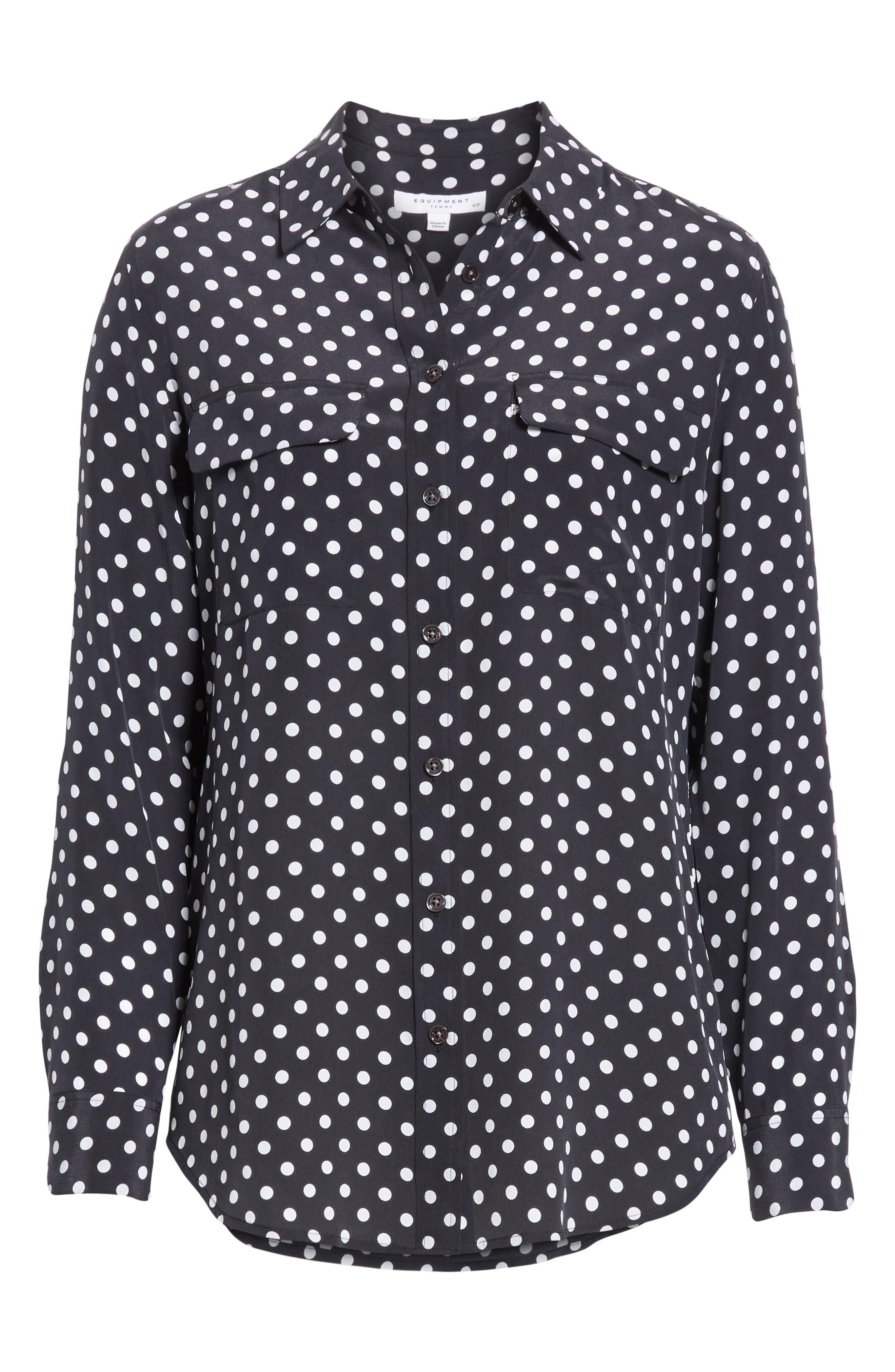,                             Slim Signature Polka Dot Silk Shirt,                             Alternate thumbnail 6, color,                             ECLIPSE/ BRIGHT WHITE