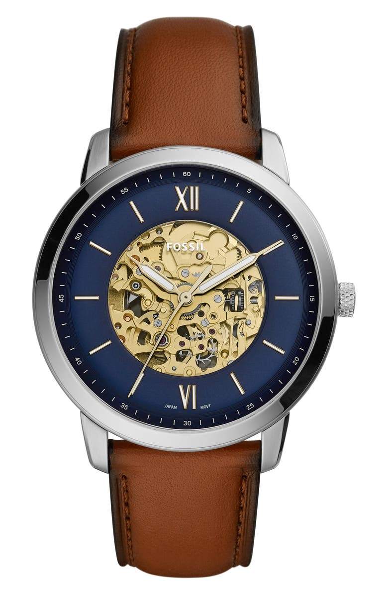 FOSSIL Neutra Automatic Leather Strap Watch, 44mm, Main, color, BROWN/ BLUE/ SILVER