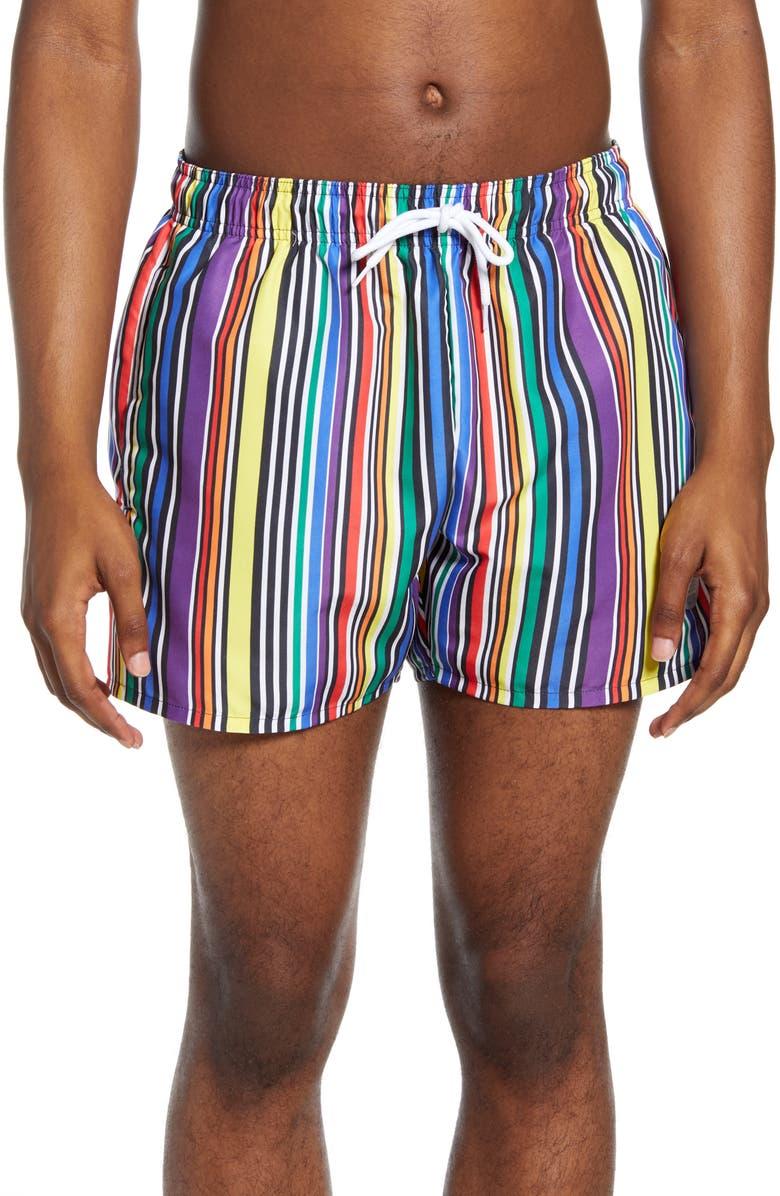 TOPMAN Pride Stripe Swim Trunks, Main, color, 700