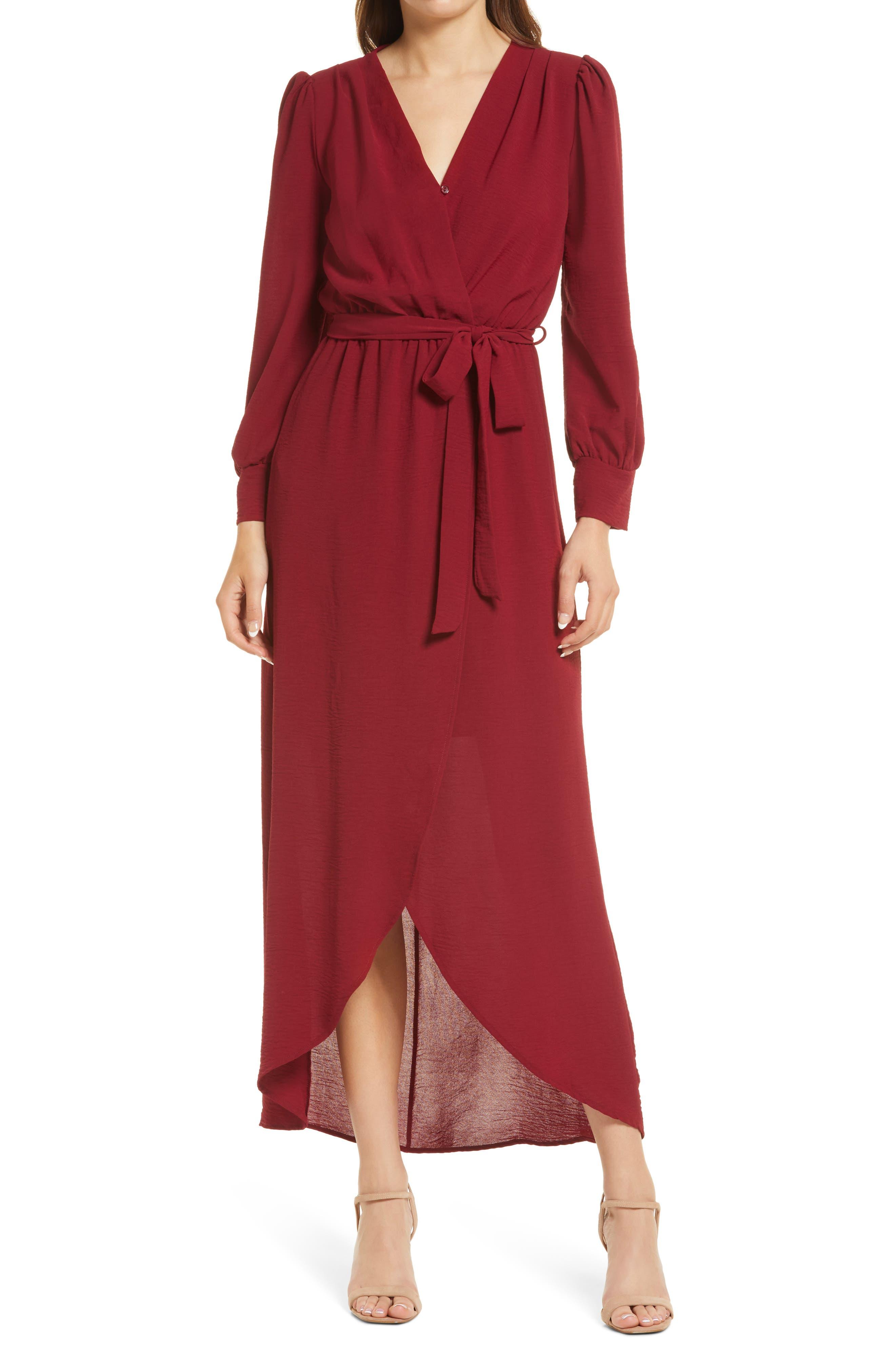 Long Sleeve Faux Wrap Dress