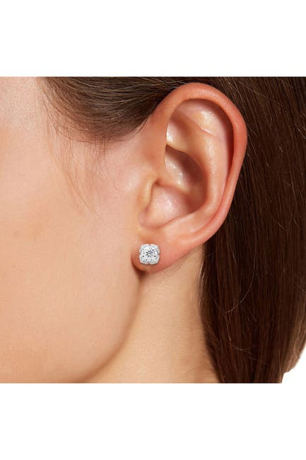 Image of Savvy Cie Platinum Plated Sterling Silver Ruffled CZ Stud Earrings