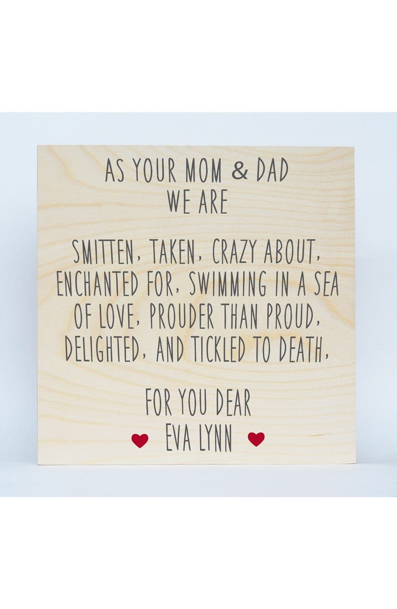 SOMEDAY INC. 'Mom & Dad' Personalized Birchwood Wall Art, Main, color, RED