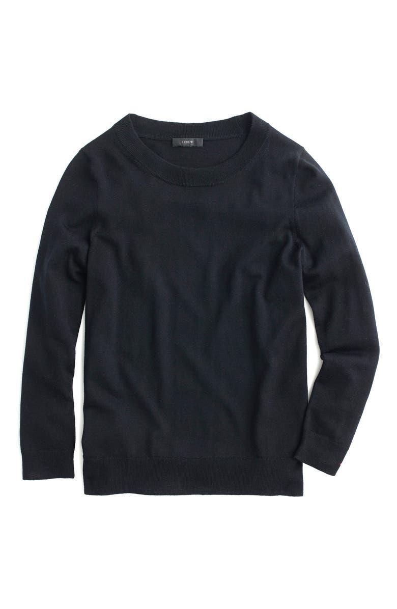 J.CREW Tippi Merino Wool Sweater, Main, color, Black