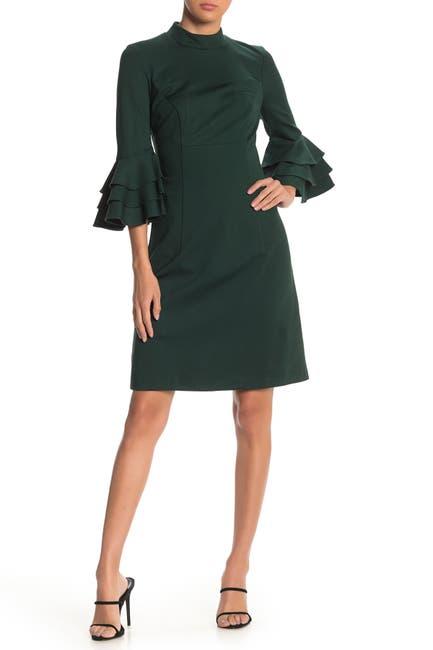 Image of Trina Turk Dylan Tiered Sleeve Mock Neck Dress
