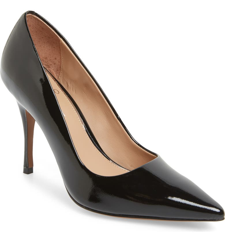 LINEA PAOLO Payton Pointy Toe Pump, Main, color, BLACK PATENT LEATHER