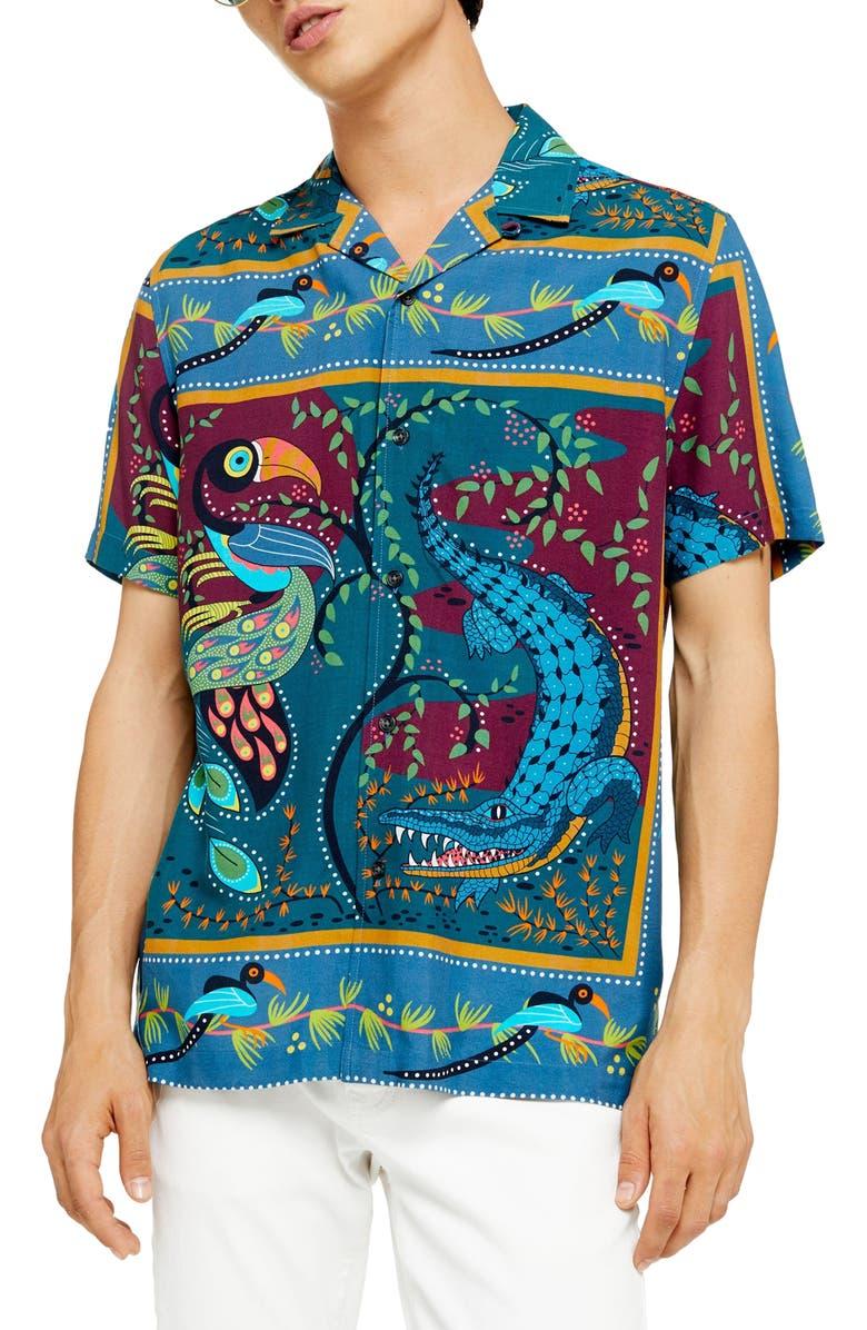 TOPMAN Toucan Revere Regular Fit Camp Shirt, Main, color, BLUE MULTI