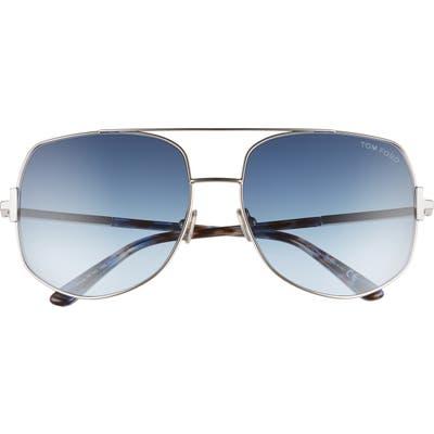 Tom Ford Lennox 62mm Oversize Aviator Sunglasses - Palladium/ Blue