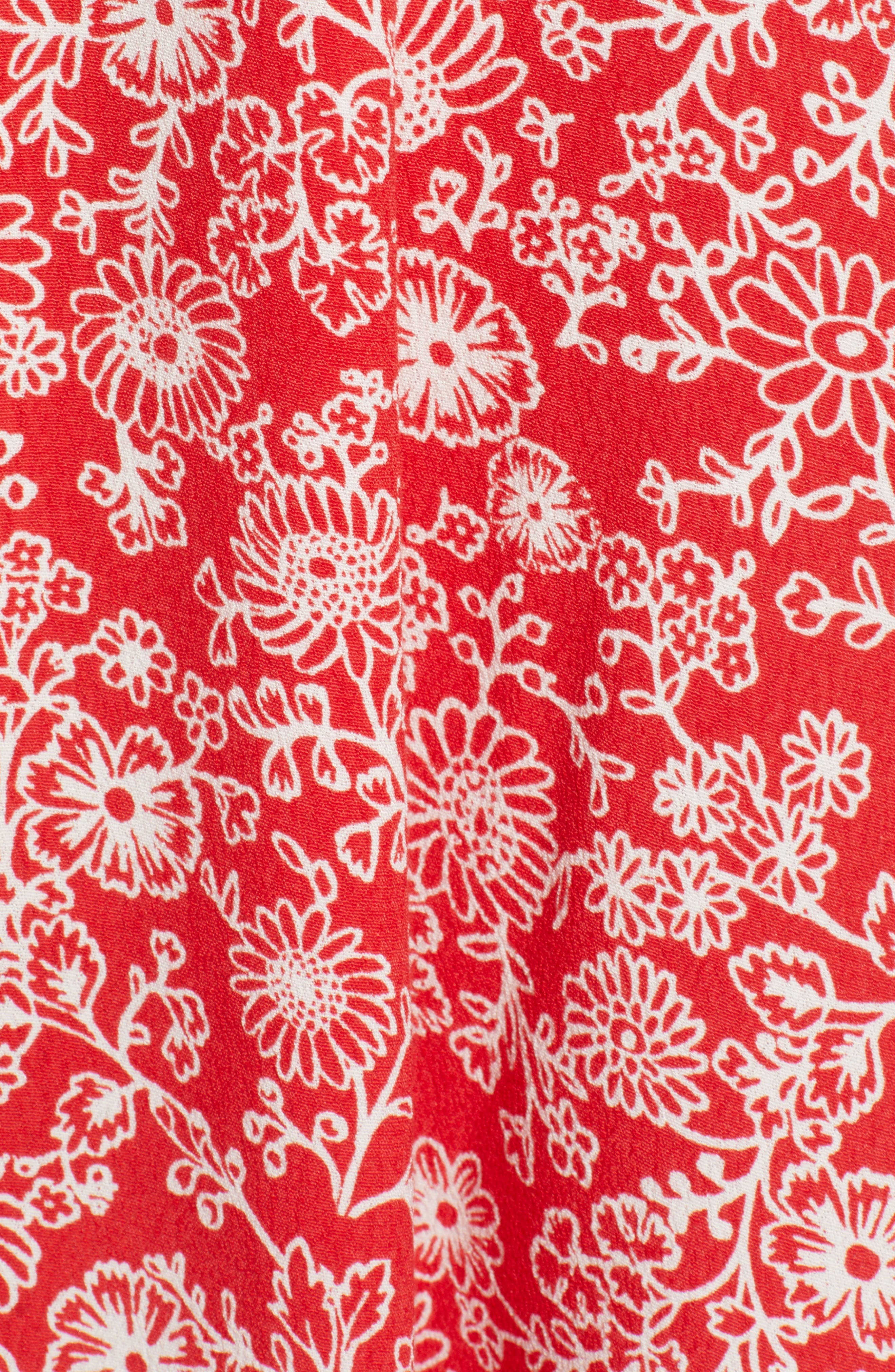 ,                             Floral Front Button Minidress,                             Alternate thumbnail 6, color,                             RED BLOOM VINED DAISIES
