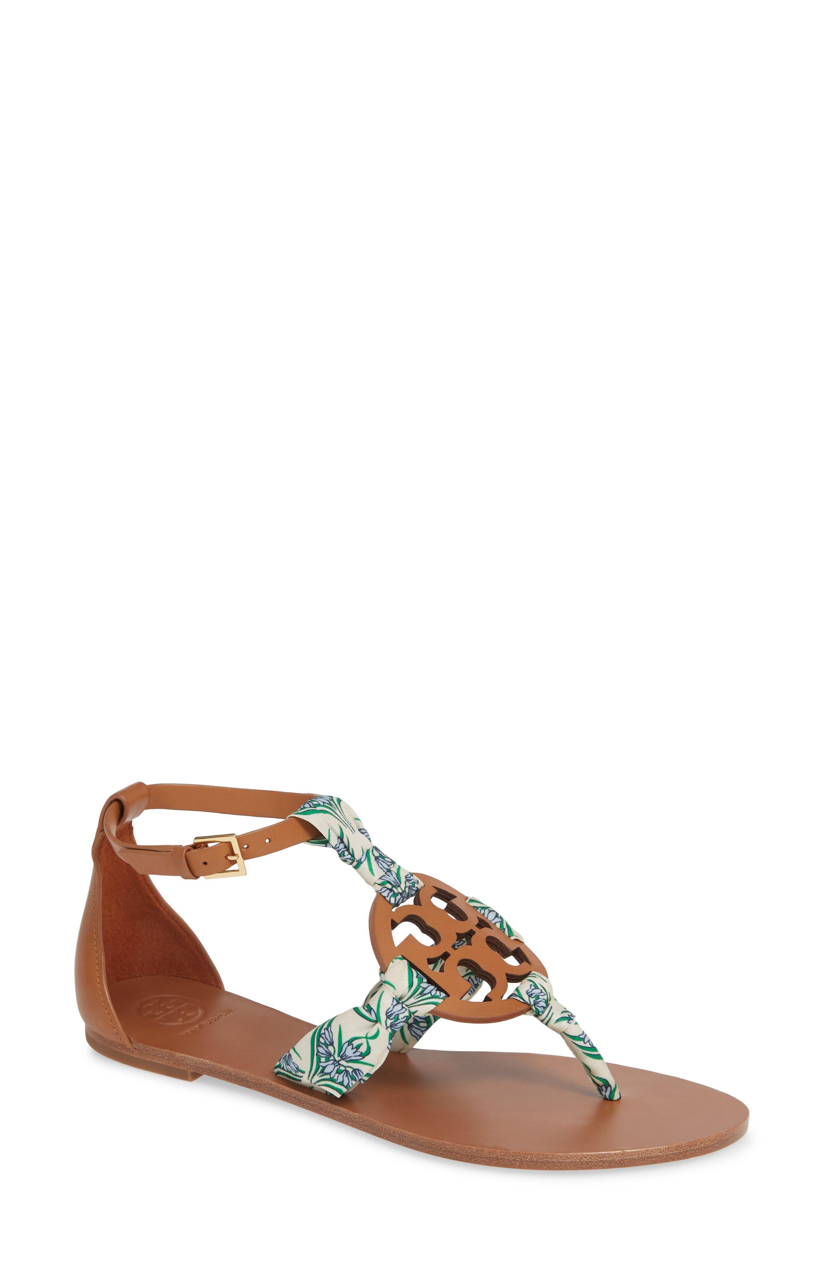 Miller Scarf Sandal, Main, color, TAN/ BLUE MERIDIAN
