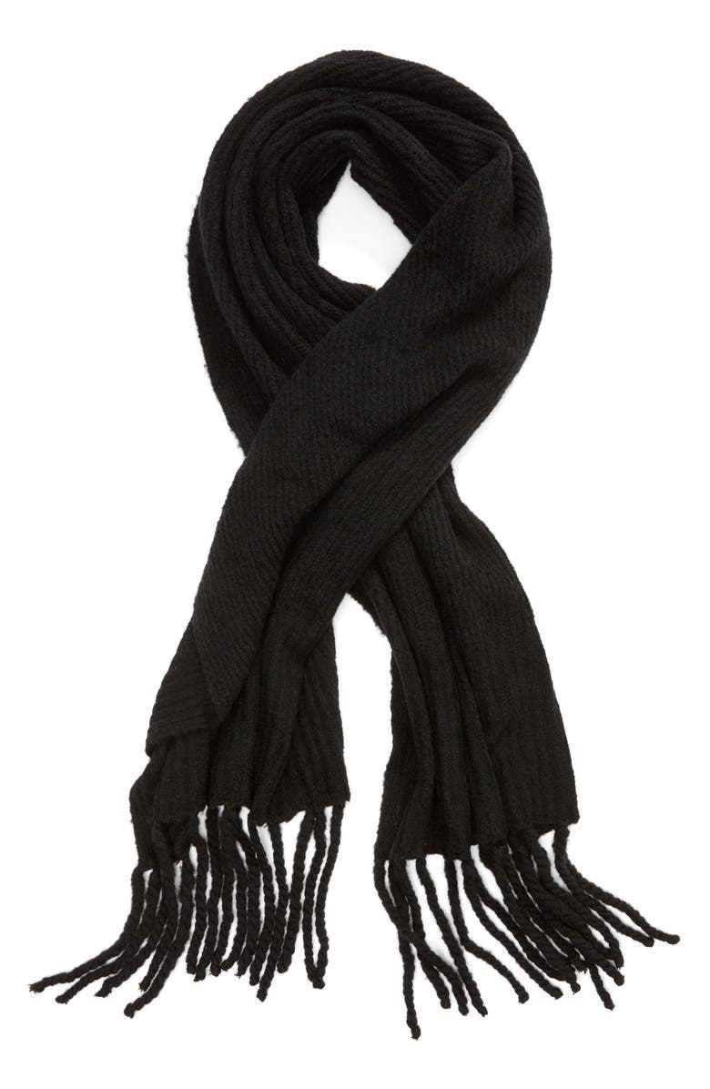 FREE PEOPLE Jaden Rib Knit Blanket Scarf, Alternate, color, BLACK