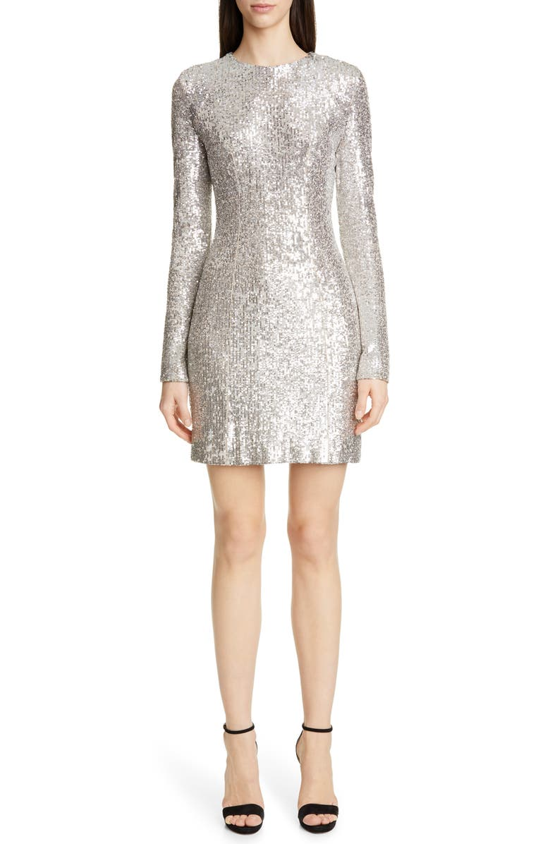 GALVAN Sequin Long Sleeve Cocktail Minidress, Main, color, 040
