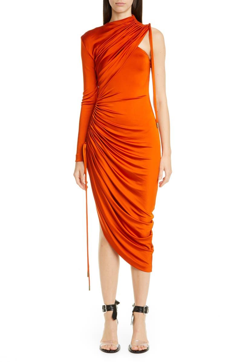 MONSE One-Shoulder Asymmetrical Drawstring Jersey Dress, Main, color, RUST
