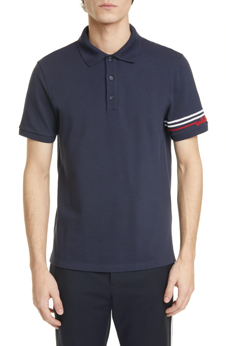 VALENTINO Stripe Piqué Polo, Main, color, NAVY