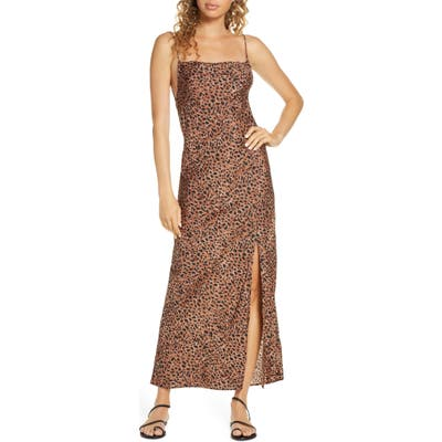 Billabong Love Bias Leopard Print Cover-Up Maxi Dress, Brown