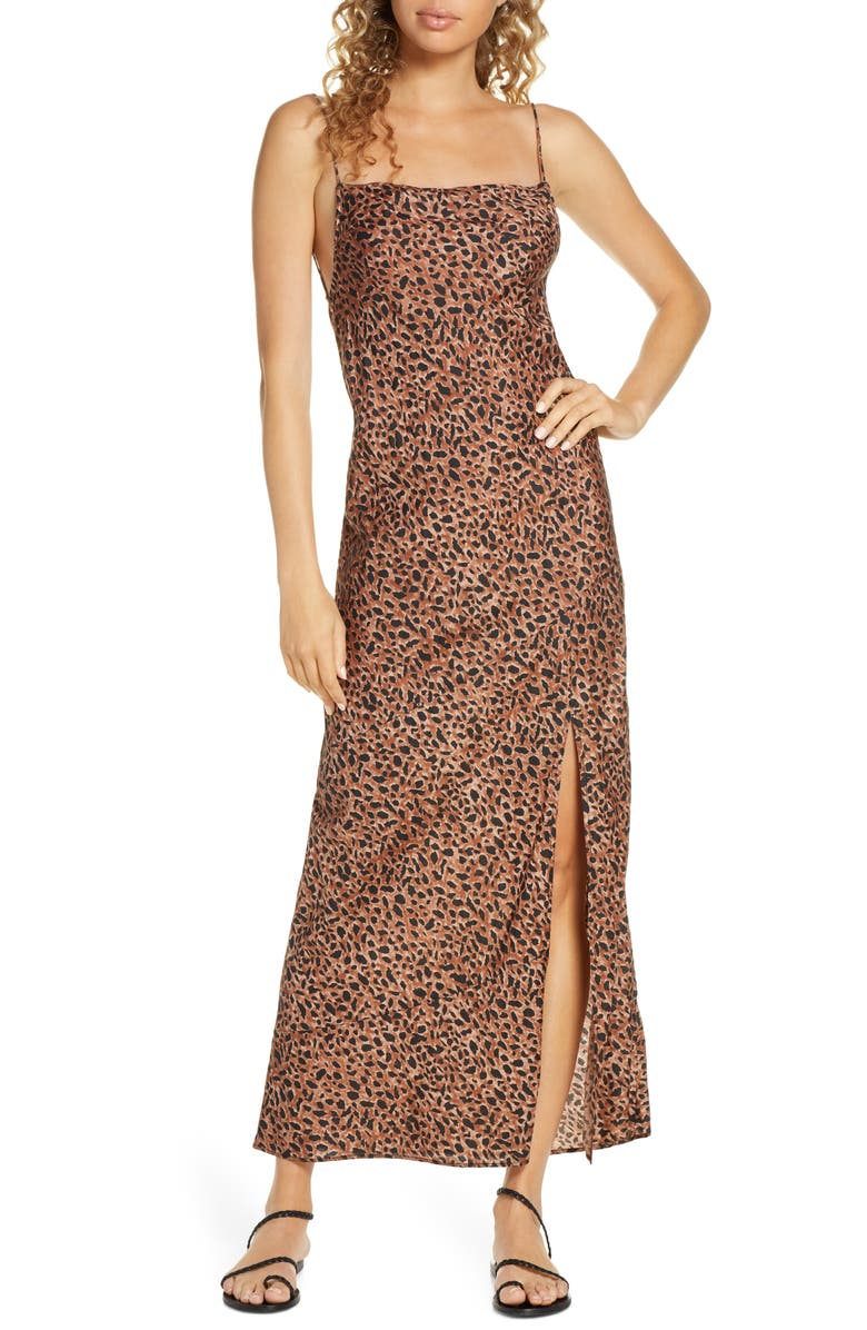 BILLABONG Love Bias Leopard Print Cover-Up Maxi Dress, Main, color, ANIMAL