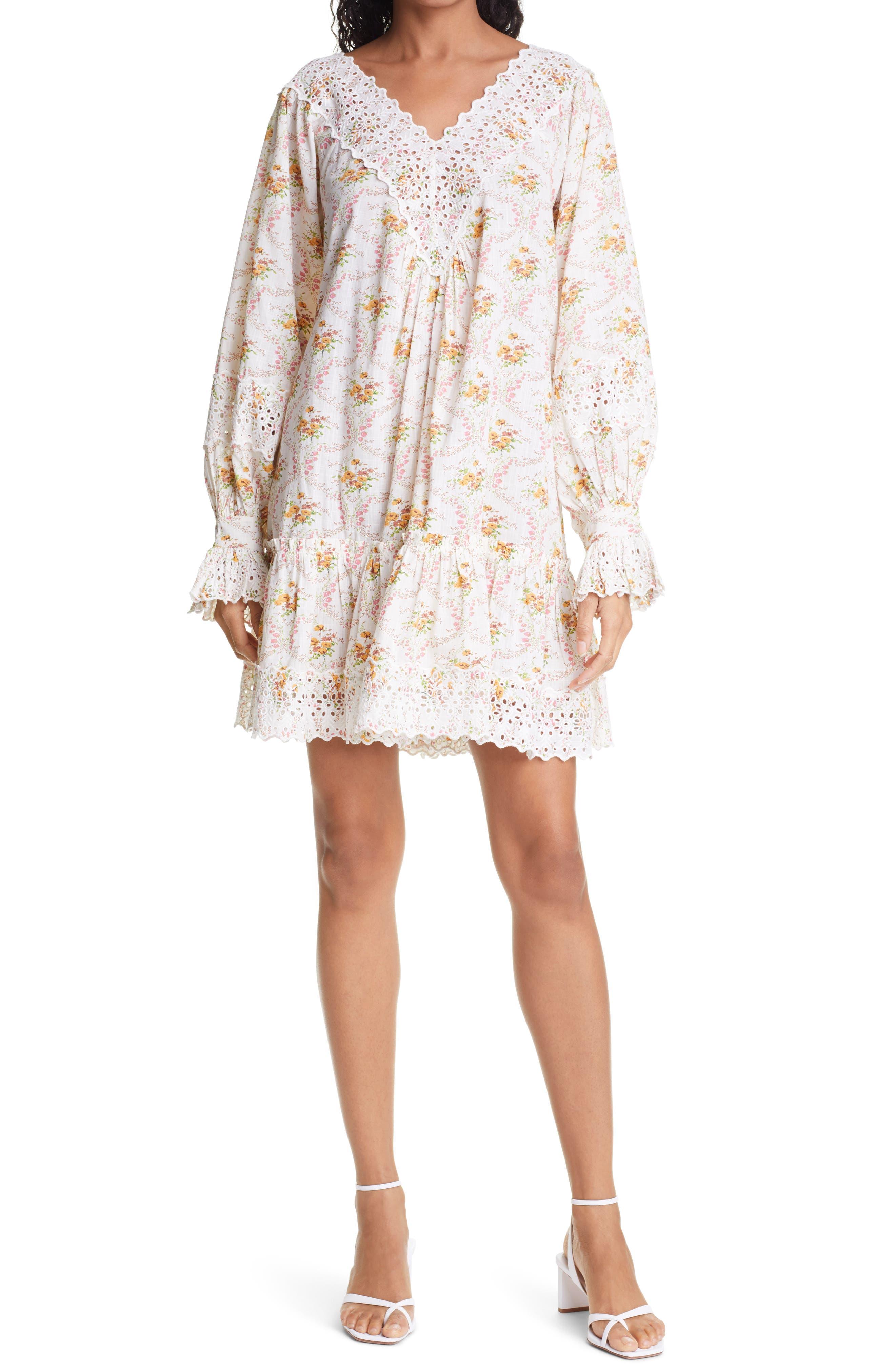 Floral Long Sleeve Shift Minidress
