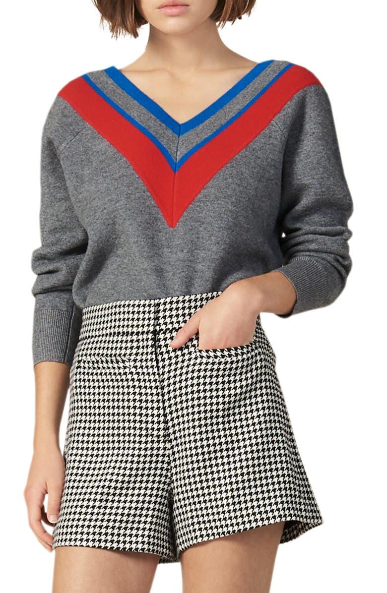 SANDRO Stripey Varsity Stripe V-Neck Sweater, Main, color, GREY