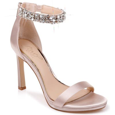Jewel Badgley Mischka Sierra Crystal Ankle Strap Sandal, Beige