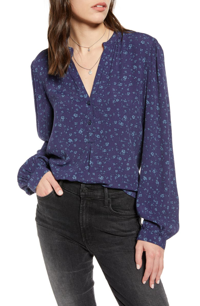TREASURE & BOND Deep Placket Popover Top, Main, color, NAVY DUSK WIND BLOWN DAISY