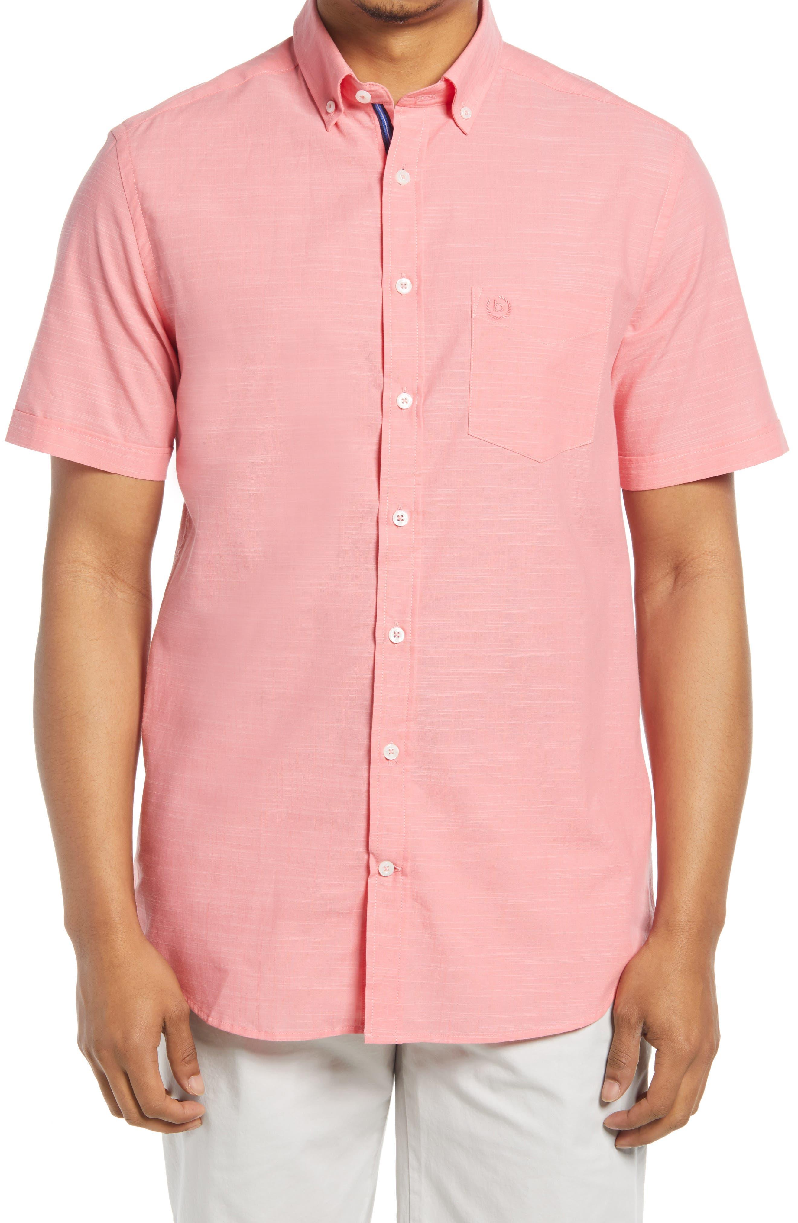 Solid Slub Short Sleeve Button-Down Shirt