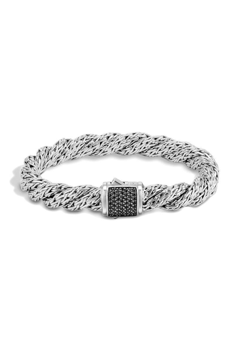 JOHN HARDY Medium Flat Lava Twist Chain Bracelet, Main, color, SILVER/ BLACK SAPPHIRE
