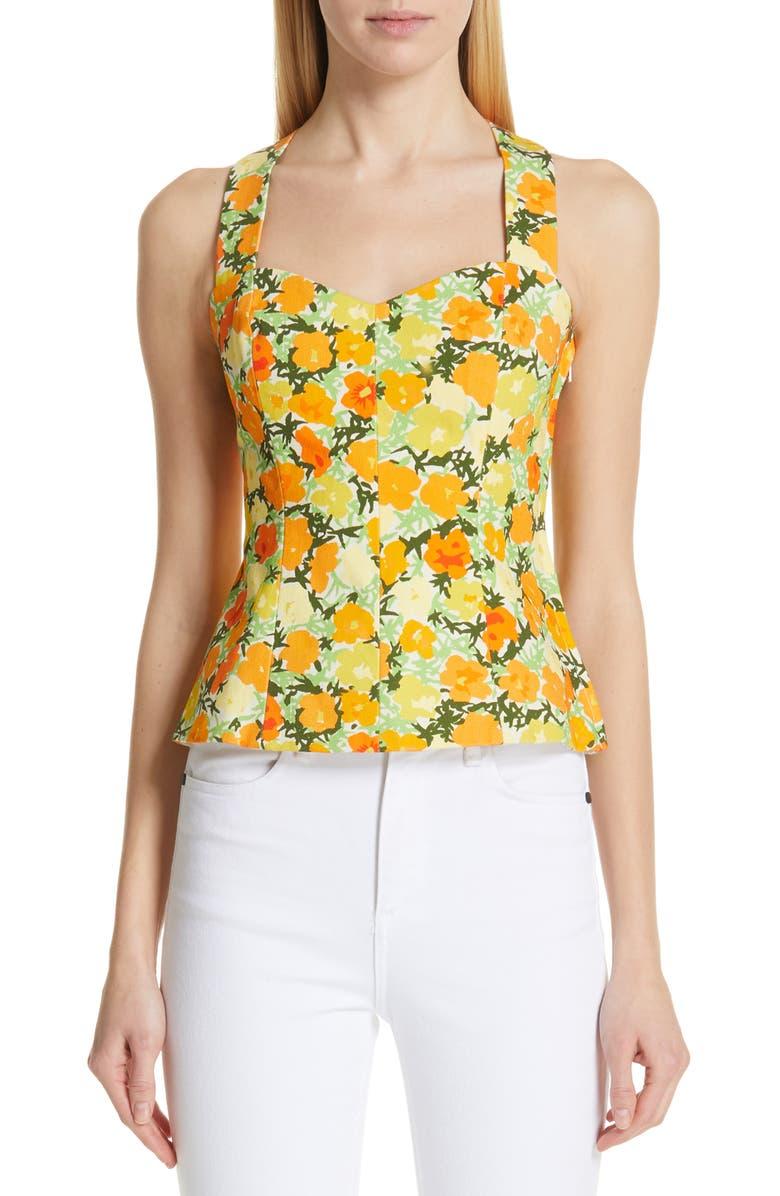 SIMON MILLER Alga Floral Sleeveless Twill Top, Main, color, 300