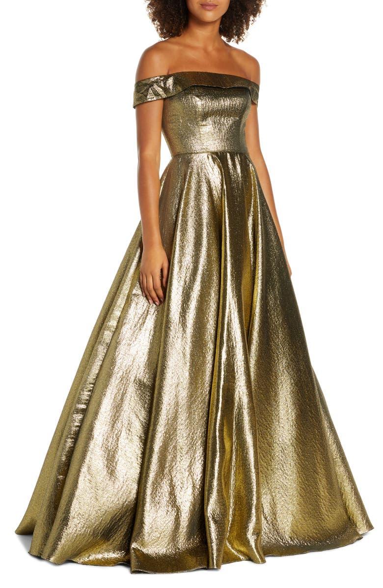 MAC DUGGAL Off the Shoulder Metallic Ballgown, Main, color, GOLD
