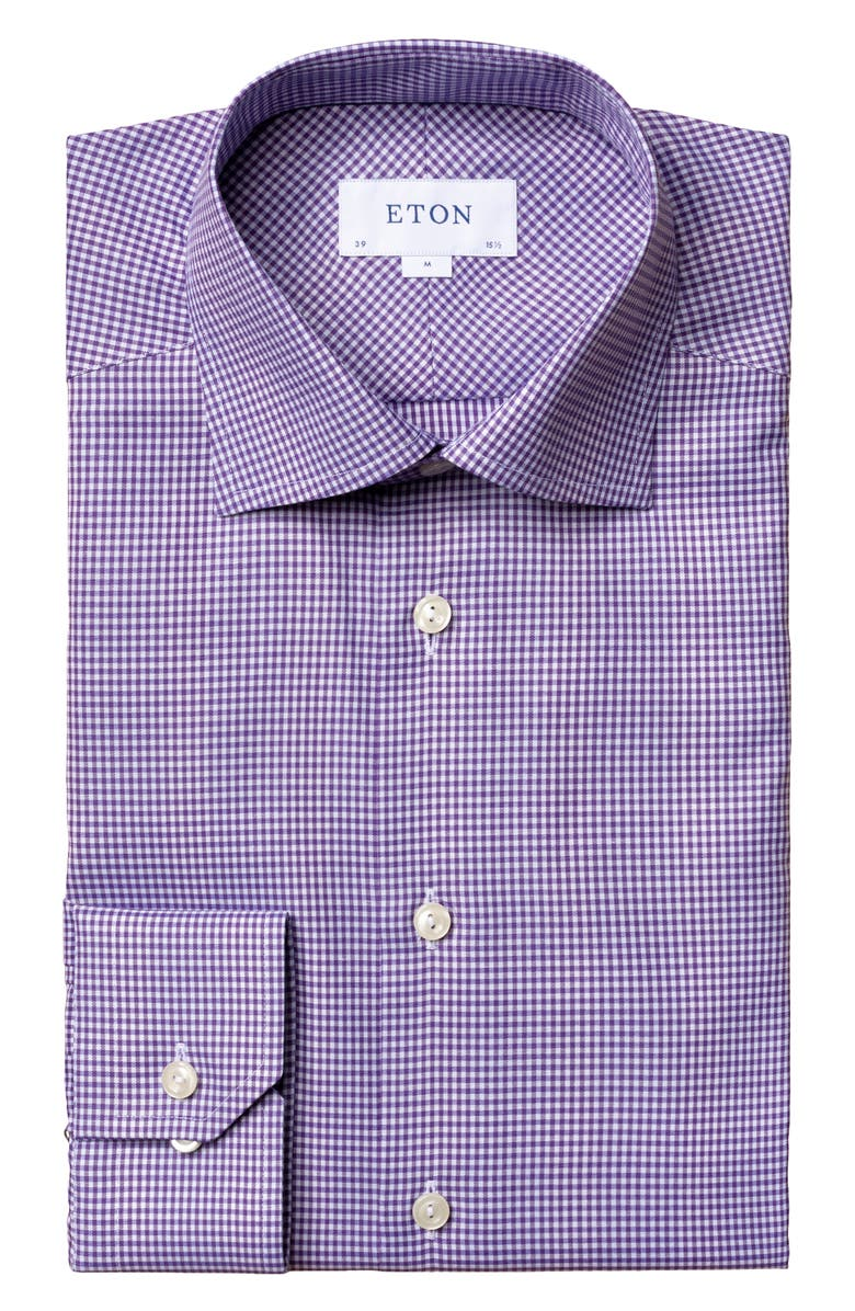 ETON Contemporary Fit Check Dress Shirt, Main, color, PURPLE