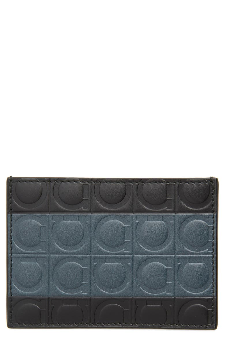 SALVATORE FERRAGAMO Gancio Embossed Leather Card Case, Main, color, BLACK/ GREY