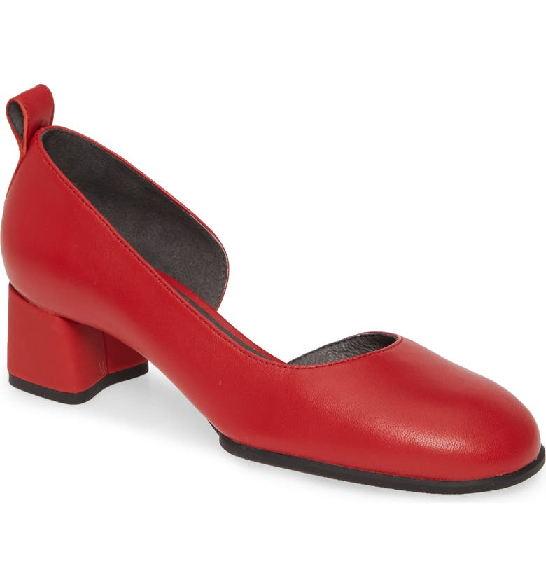 CAMPER Katie Half d'Orsay Pump, Main, color, RED LEATHER