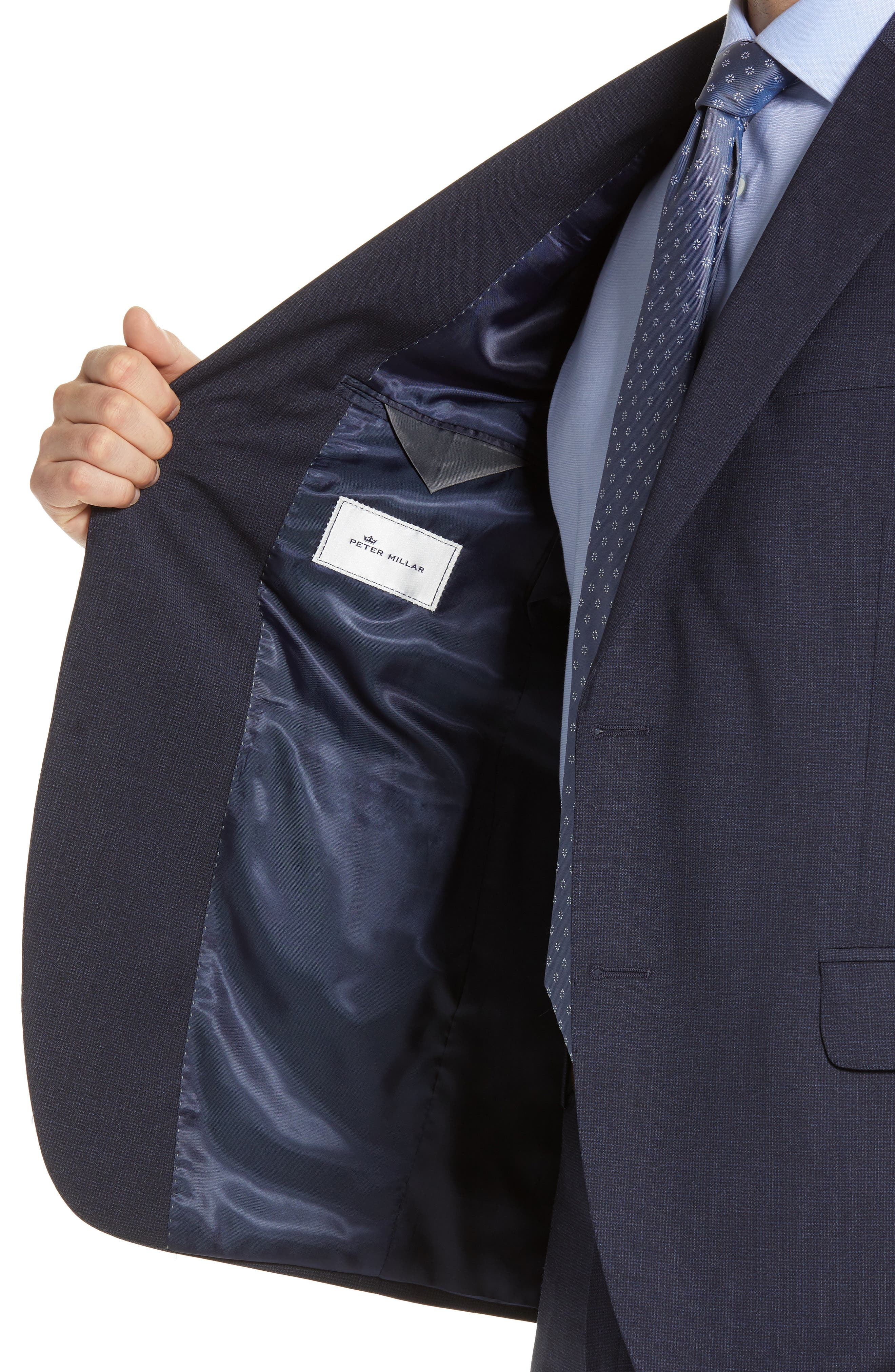 ,                             Flynn Classic Fit Check Wool Suit,                             Alternate thumbnail 5, color,                             NAVY
