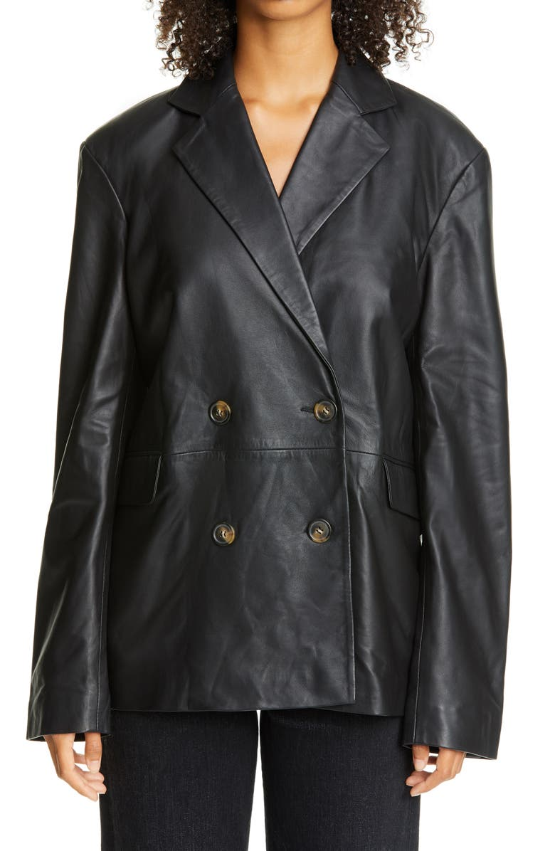 LOULOU STUDIO Oversized Double Breasted Leather Blazer, Main, color, BLACK