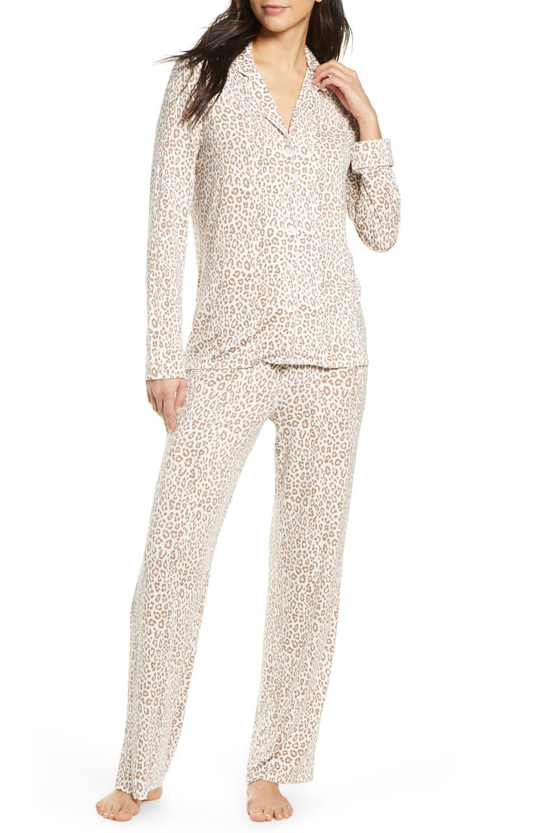 NORDSTROM LINGERIE Moonlight Pajamas, Main, color, IVORY EGRET ANIMAL