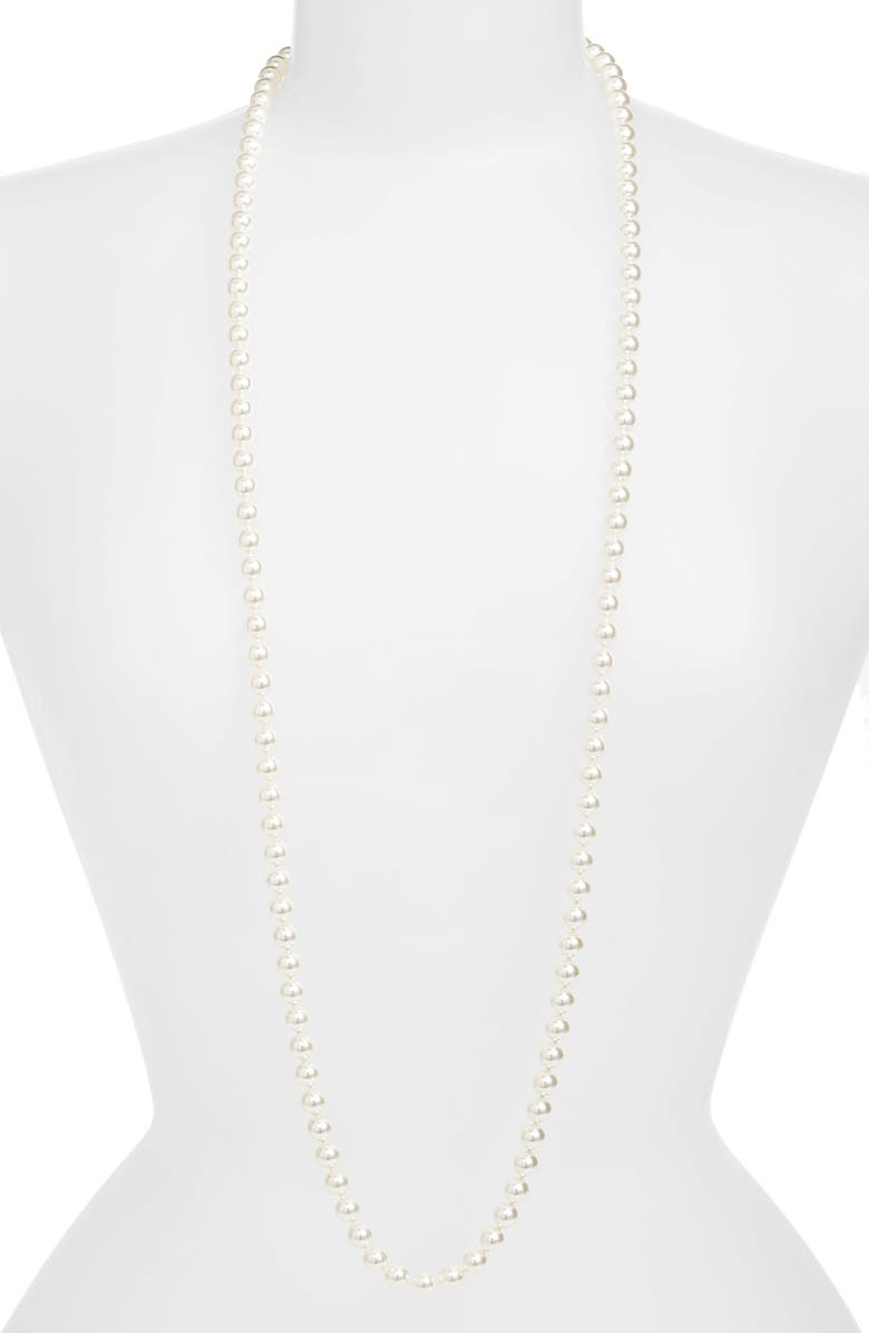 NADRI 42-Inch Glass Pearl Strand Rope Necklace, Main, color, 100