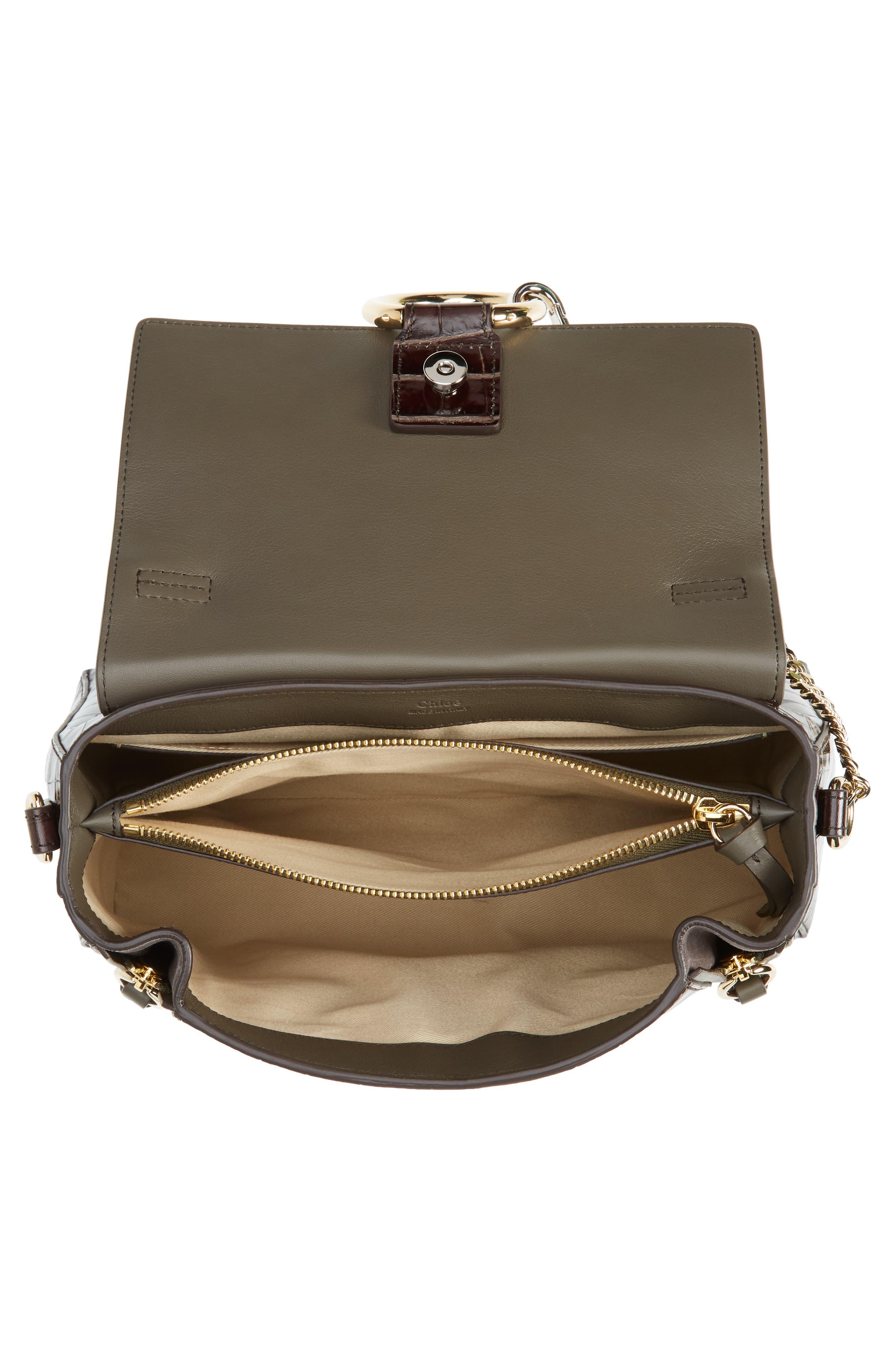 ,                             Medium Faye Day Croc Embossed Leather Shoulder Bag,                             Alternate thumbnail 4, color,                             PROFOUND BROWN