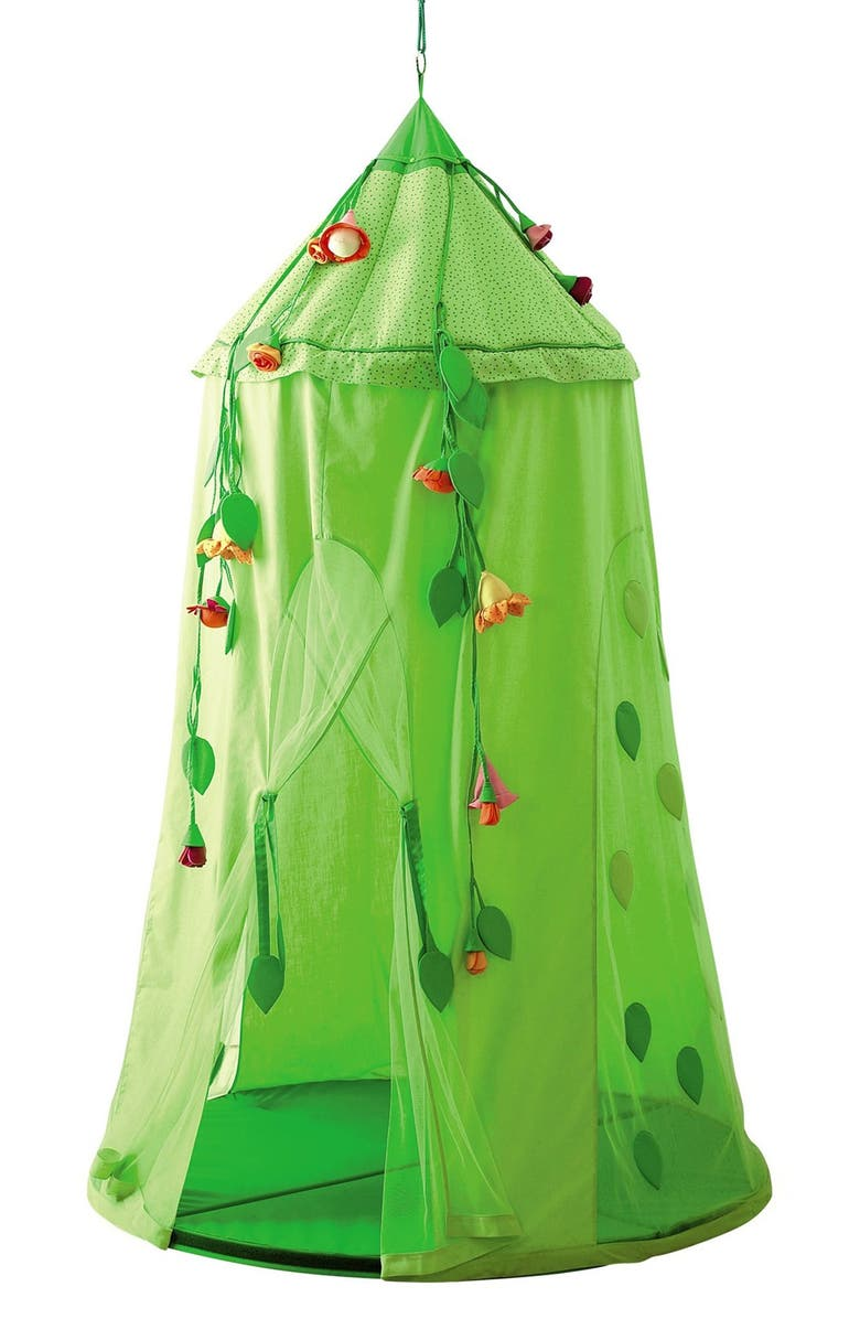 HABA 'Blossom Sky' Hanging Play Tent, Main, color, GREEN