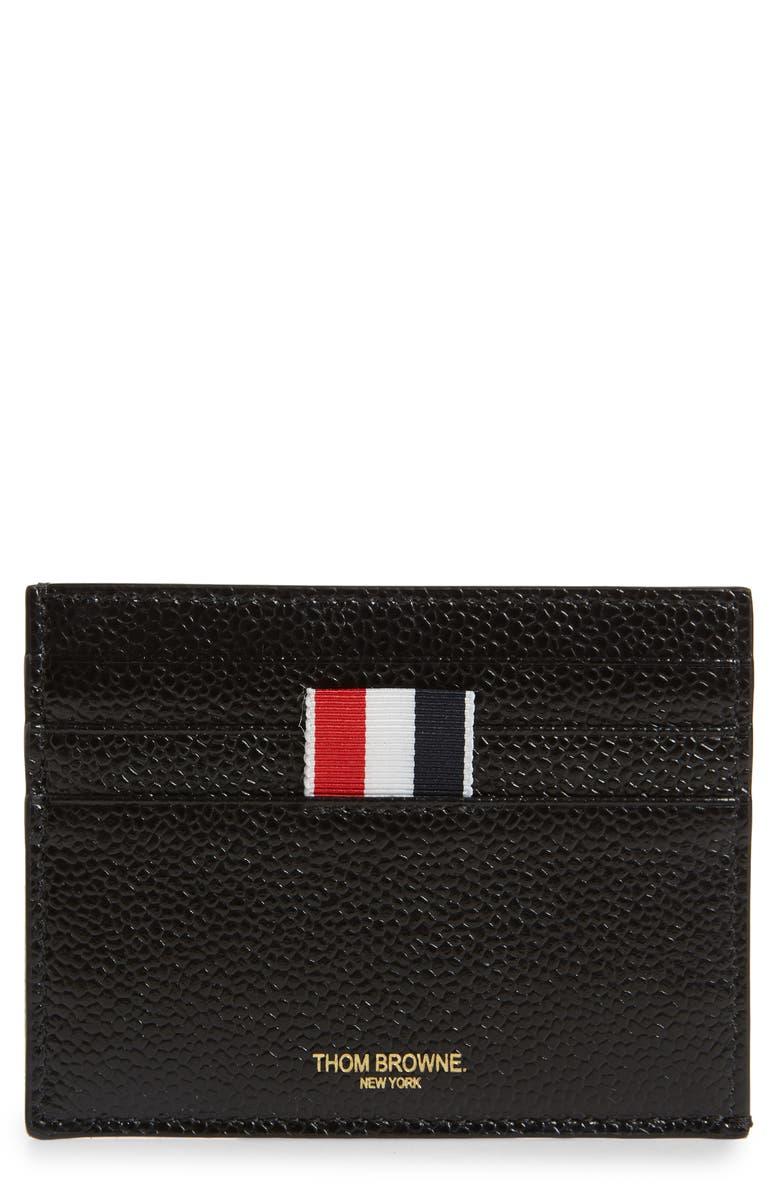 THOM BROWNE Card Case, Main, color, BLACK