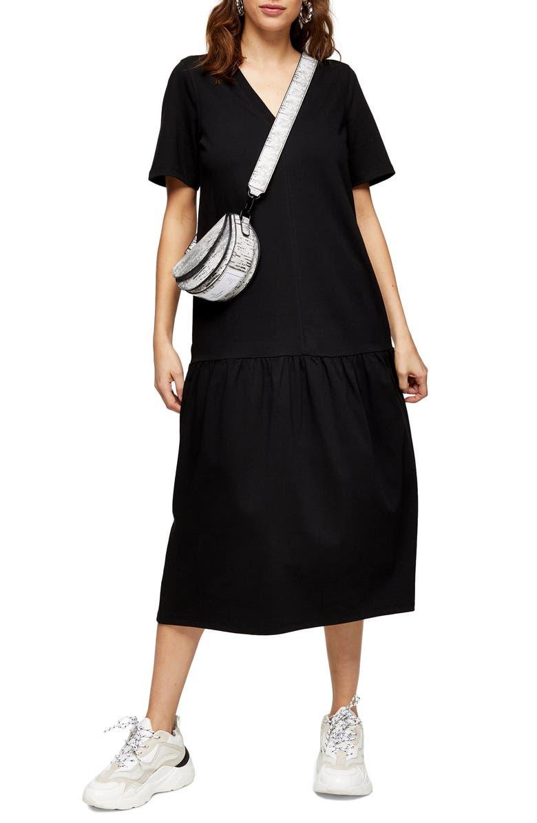 TOPSHOP Drop Waist Midi Dress, Main, color, 001