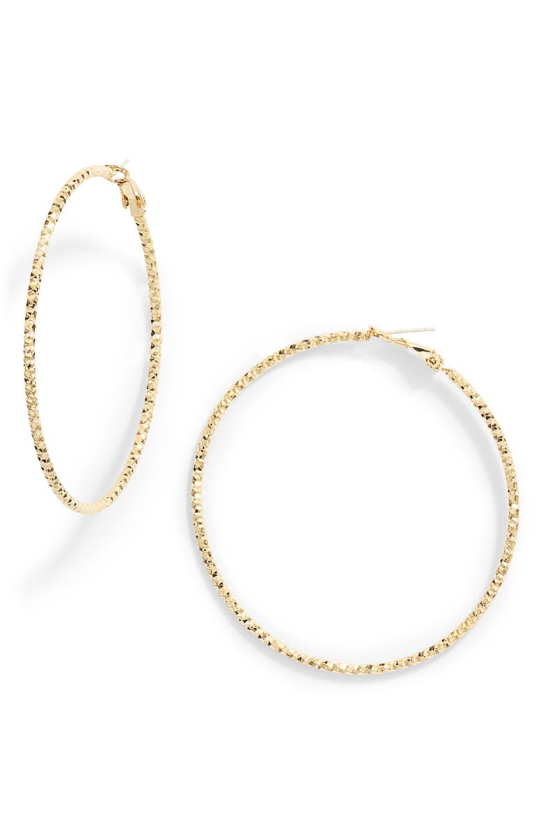 TEN79LA Diamond Cut Hoop Earrings, Main, color, GOLD