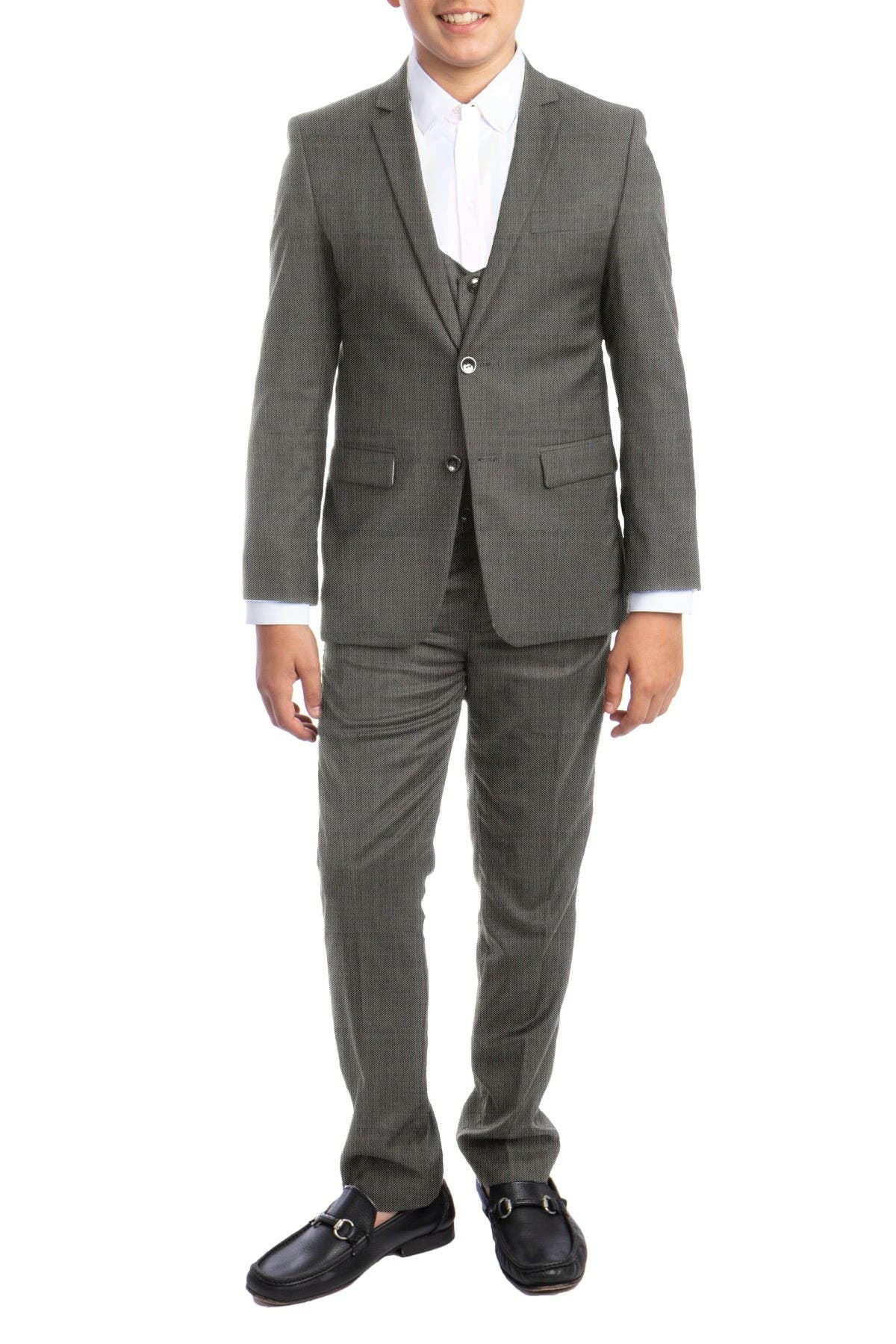 Image of Perry Ellis Portfolio Light Grey Sharkskin 3-Piece Suit Set