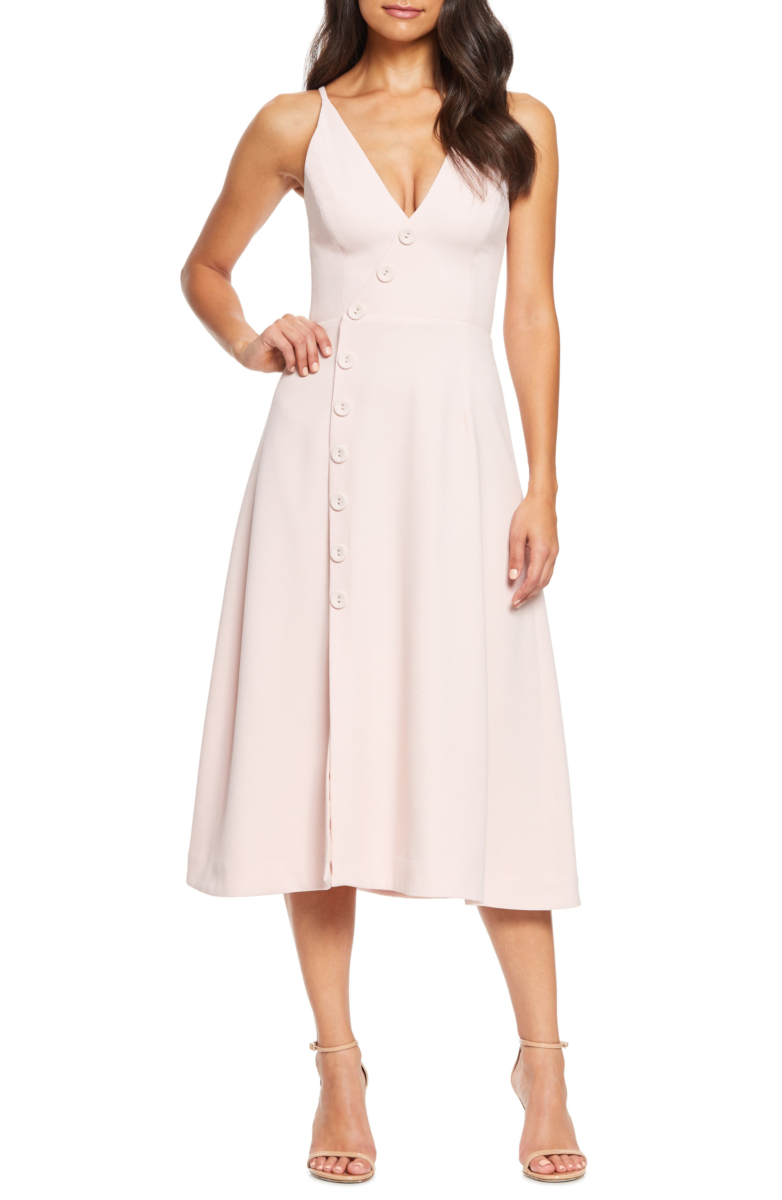 Dress The Population Emily Asymmetrical Front Button Cocktail Dress, Pink
