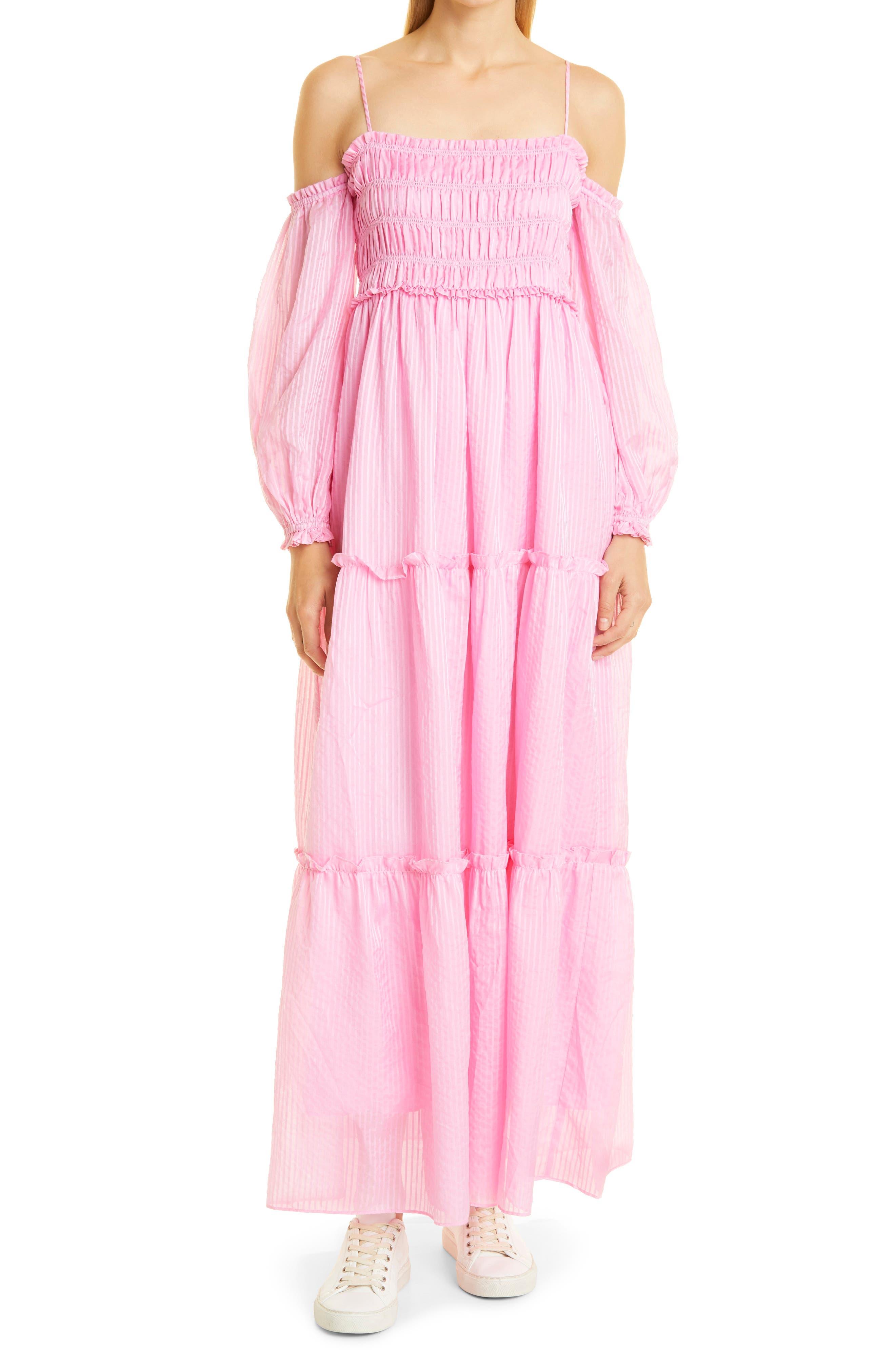 Barbara Stripe Cotton & Silk Maxi Sundress