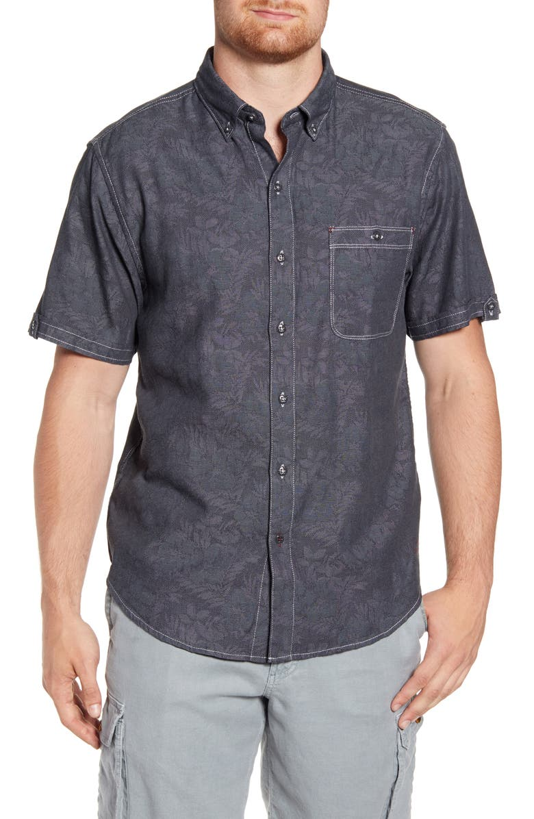 TOMMY BAHAMA Moana Fronds Woven Shirt, Main, color, BALA SHARK