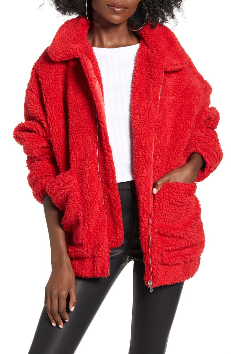 I.AM.GIA Pixie Faux Shearling Jacket, Main, color, RED
