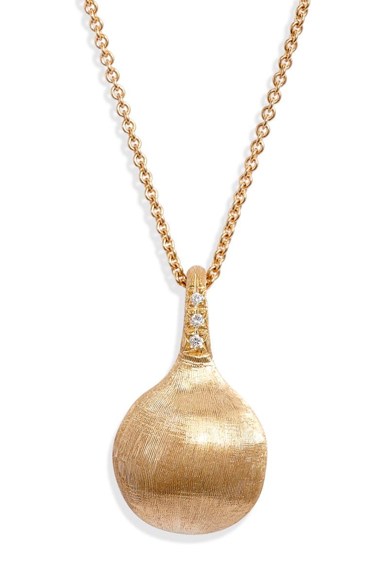 MARCO BICEGO Africa Boule Pavé Diamond Pendant Necklace, Main, color, YELLOW GOLD
