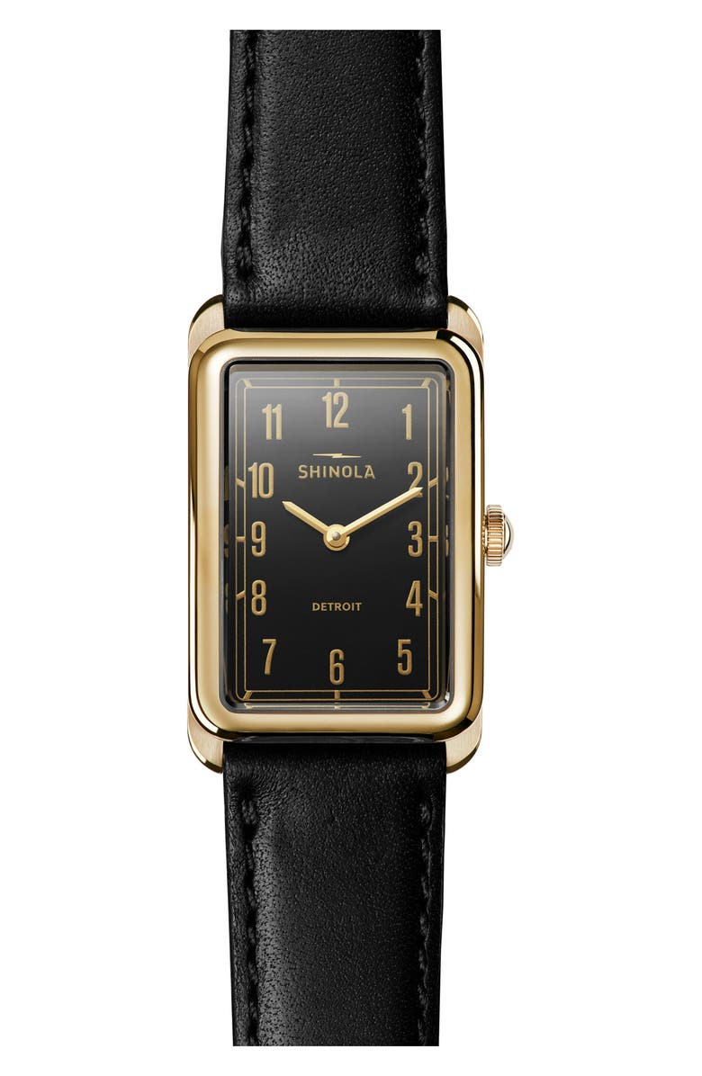 SHINOLA The Muldowney Rectangular Leather Strap Watch, 24mm x 32mm, Main, color, 001