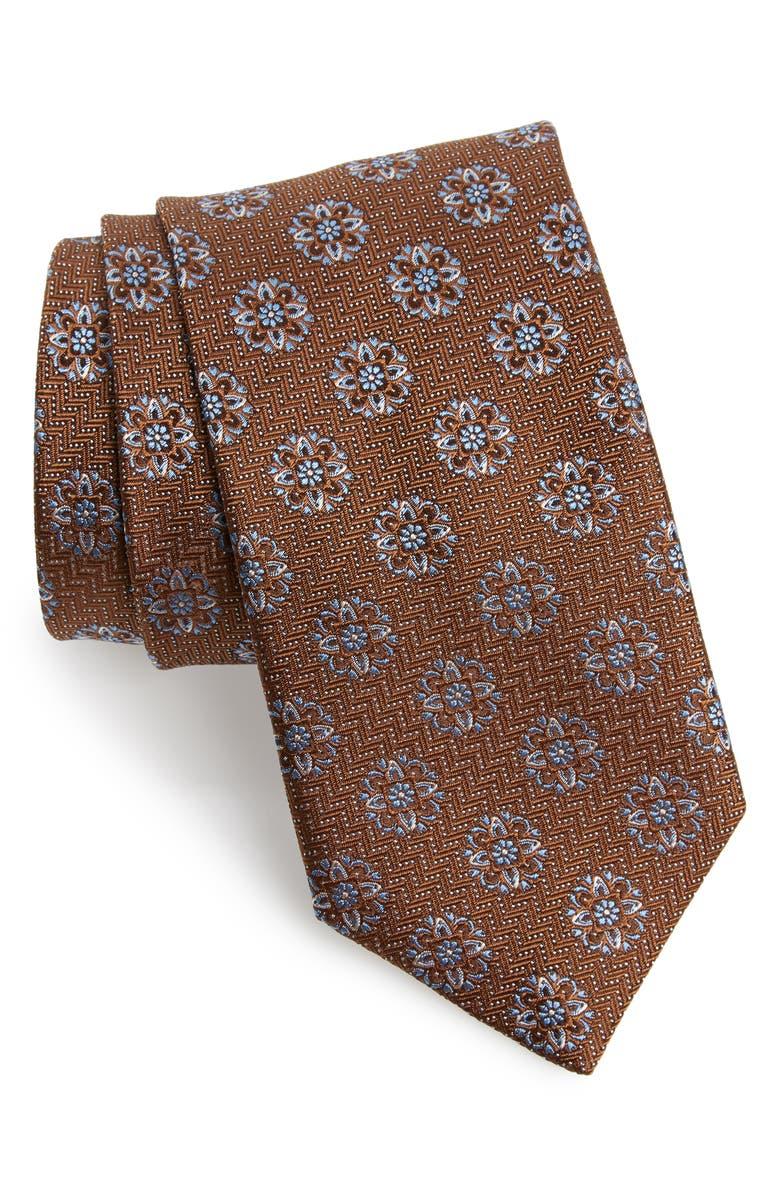DAVID DONAHUE Medallion Silk Tie, Main, color, CHOCOLATE
