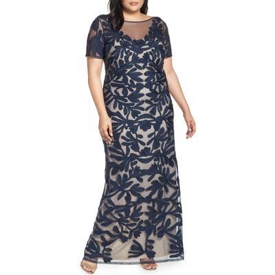 Plus Size Js Collections Illusion Soutache Column Gown, Blue