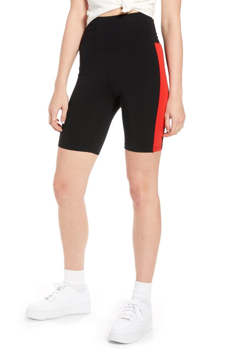 BP. x Claudia Sulewski Side Stripe Biker Shorts, Main, color, BLACK